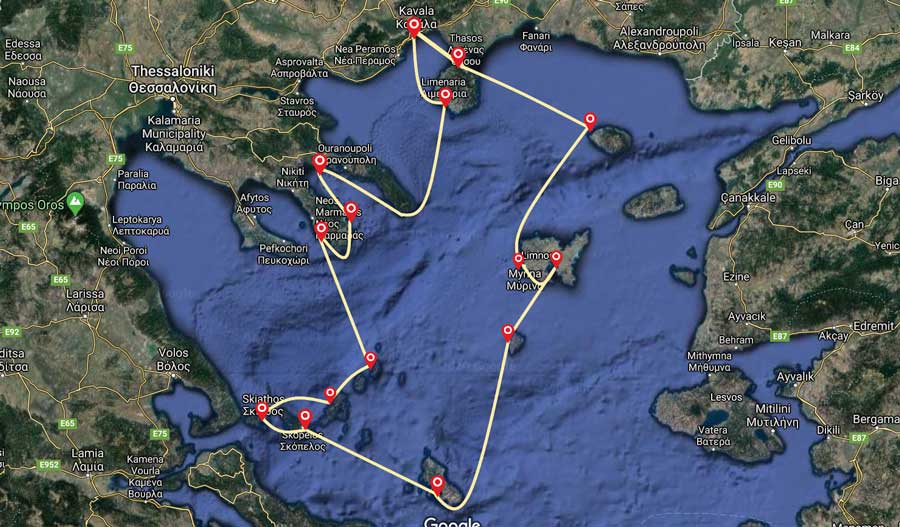 two weeks sailing itinerary Greece